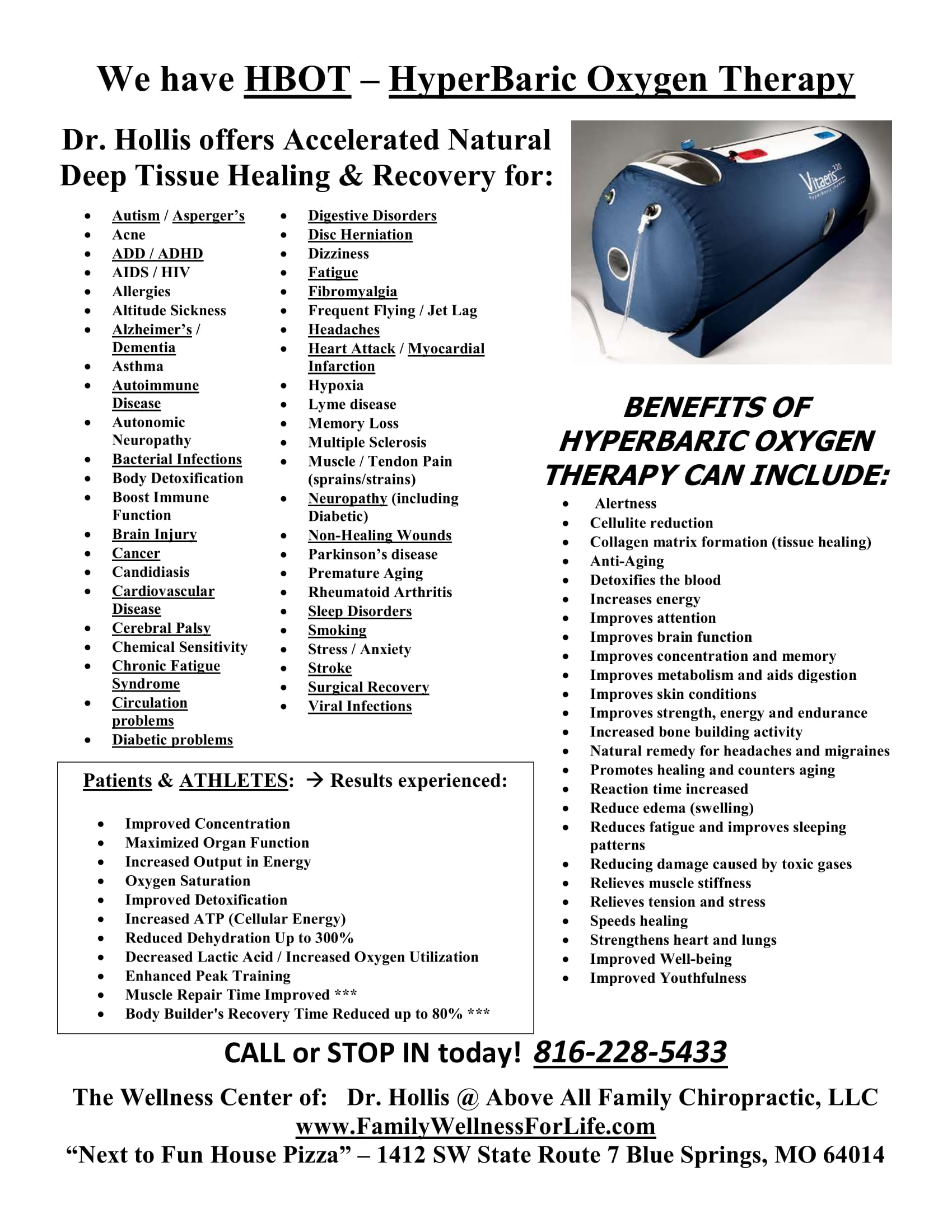 Hyperbaric Oxygen Therapy | Above All Family Chiropractic